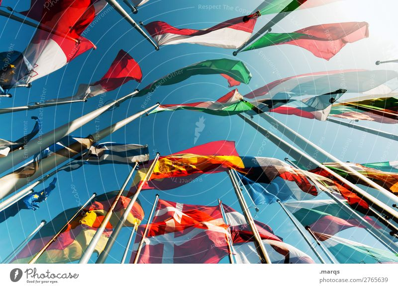 EU Cloudless sky Sign Flag Politics and state Europe Elections Germany Spain France Italy Poland Portugal Alliance Greece Ensign International Colour photo