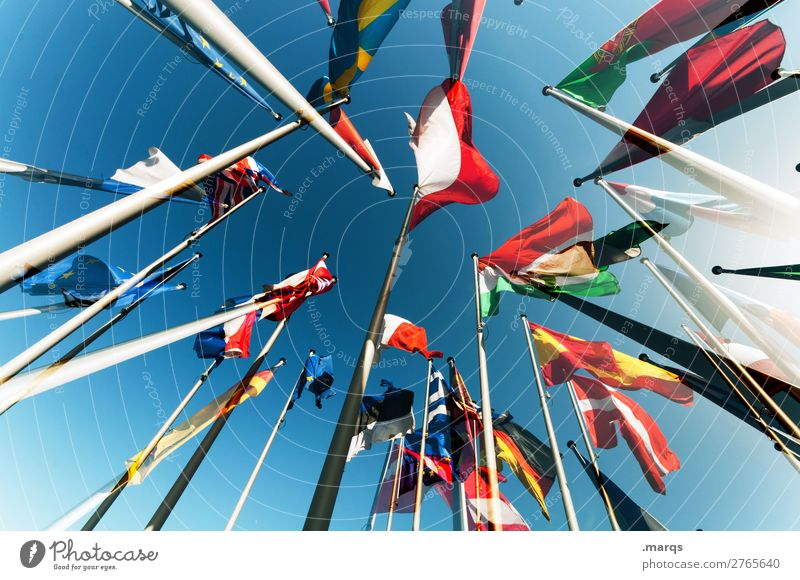 European Flags Cloudless sky Sign Perspective Politics and state Elections Germany Spain Denmark Portugal Austria Alliance France Colour photo Exterior shot