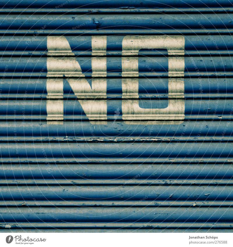 NE England Outskirts Wall (barrier) Wall (building) Facade Door Blue Anger Grouchy Animosity Garage door Slat blinds Denial Cancelation Warn Dirty