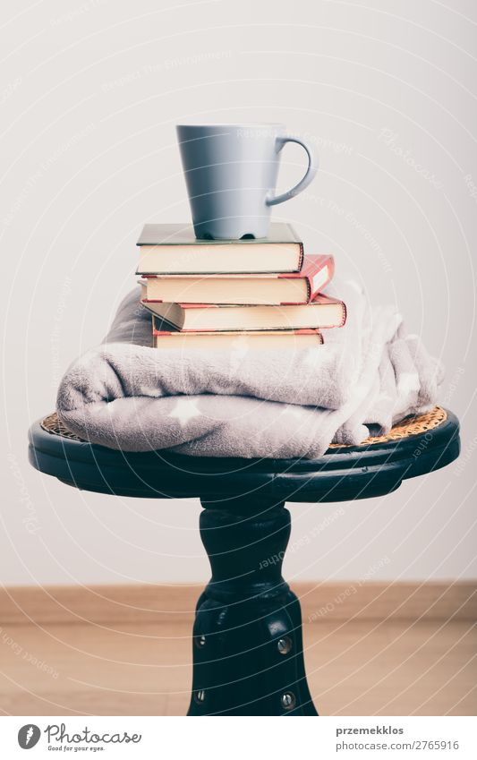 A few books with cup of coffee and blanket on wooden chair Coffee Mug Lifestyle Relaxation Leisure and hobbies Reading Chair Book To enjoy Brown