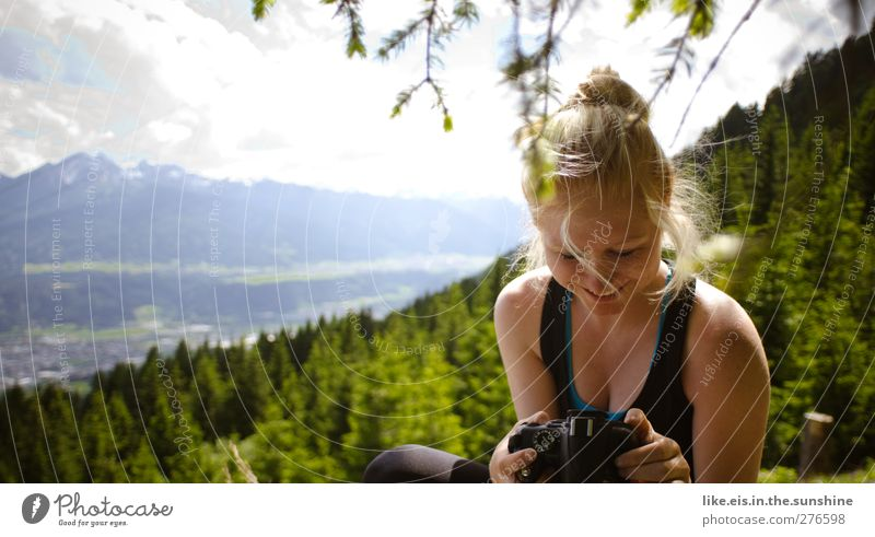 Human being Woman Nature Youth (Young adults) Vacation & Travel Summer Adults Forest Relaxation Landscape Far-off places Environment Feminine Mountain Life
