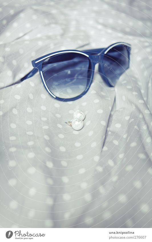 Accessories Fashion Dress Accessory Jewellery Earring Sunglasses Esthetic Elegant Retro Blue Gray White Spotted Pearl Colour photo Subdued colour Interior shot