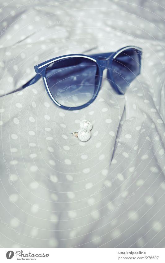 Blue White Gray Fashion Elegant Esthetic Retro Dress Jewellery Sunglasses Pearl Earring Accessory Spotted