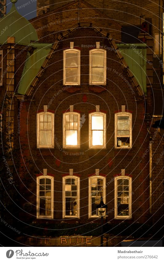 Front of an old house in London England Europe Town Downtown House (Residential Structure) Facade Window Gable end Illuminate Nostalgia Past Change