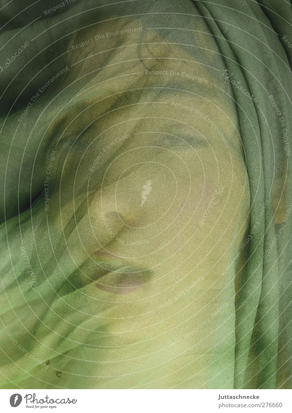Silently the wind carries.... Stage play Looking Dream Green Longing Loneliness Emotions Puzzle Protection Fairy tale Folds Wrinkles Rag Concealed Covered