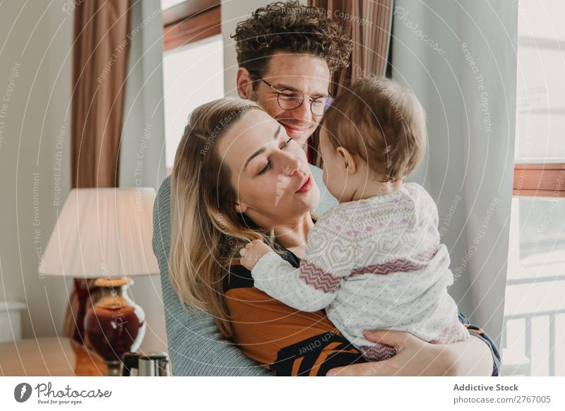 Happy family at the window Mother Father Child Together Window Hotel Room Home Interior design Flat (apartment) Design Comfortable Safety (feeling of)