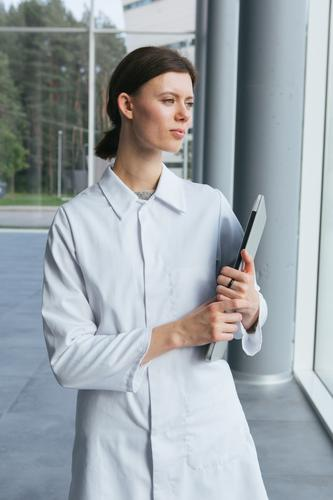 Woman in whites at modern building Laboratory Work and employment Science & Research Building Modern Contemporary Human being Scientist Medication Chemistry