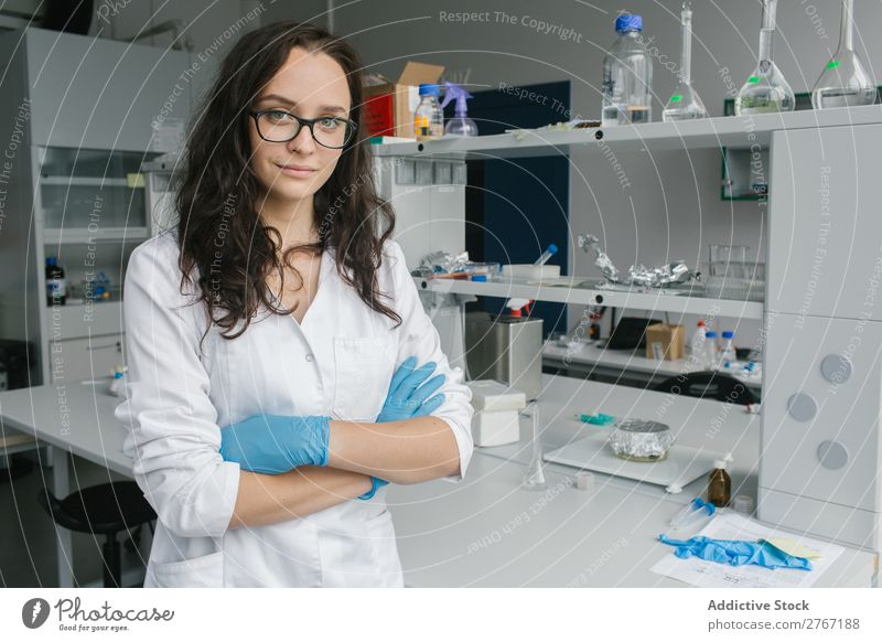 Woman in whites standing in lab Laboratory Work and employment Science & Research Human being Looking into the camera