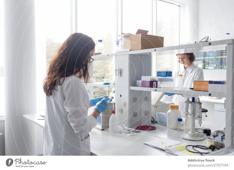 Women standing and working in lab Laboratory Work and employment Science & Research Woman Scientist Medication Chemistry Technology Doctor experiment scientific
