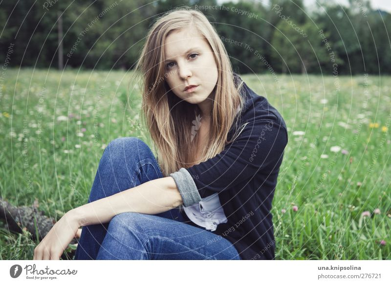 Human being Woman Youth (Young adults) Blue Green Beautiful Black Adults Landscape Meadow Feminine Young woman Think Fashion Blonde 18 - 30 years