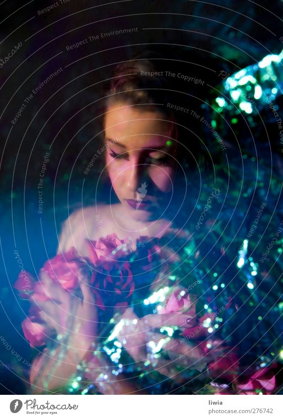 follow roses Feminine Skin Head 1 Human being Rose Emotions Hope Colour photo Experimental Structures and shapes Downward