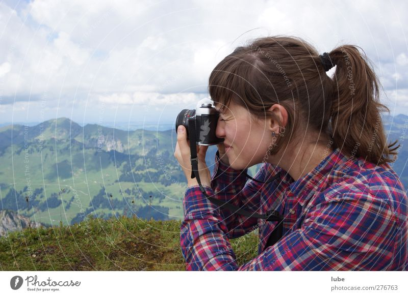 Human being Youth (Young adults) Adults Landscape Feminine Mountain Young woman 18 - 30 years Leisure and hobbies Photography Camera Snapshot Take a photo
