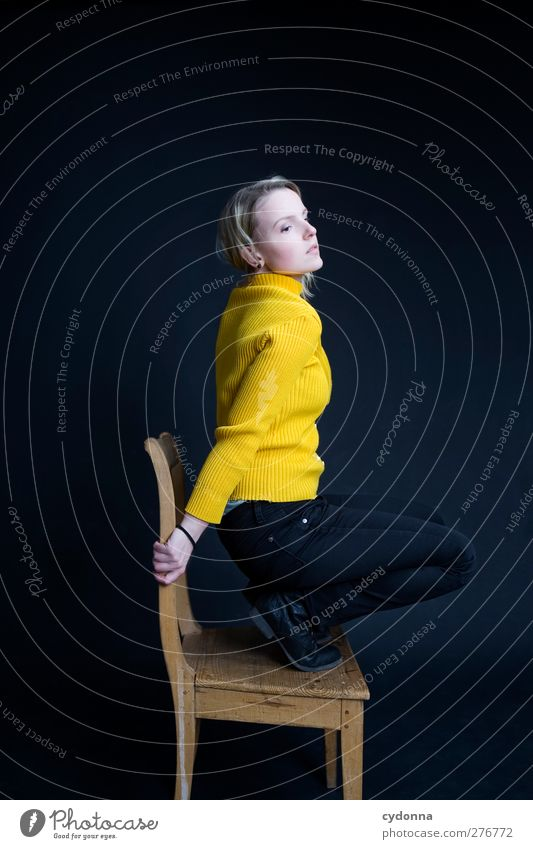 Human being Youth (Young adults) Beautiful Young woman Loneliness Calm 18 - 30 years Adults Yellow Life Sadness Emotions Dream Room Elegant Esthetic