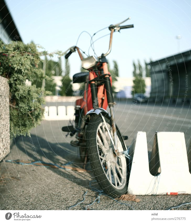49cc Lifestyle Town Industrial plant Places Transport Street Roadside Vehicle Motorcycle Scooter Old Cool (slang) Historic Rebellious Retro Cliche Blue Red