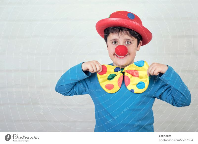 child with clown nose and hat Child Human being Red Joy Lifestyle Funny Emotions Laughter Happy Feasts & Celebrations Boy (child) Masculine Smiling Birthday