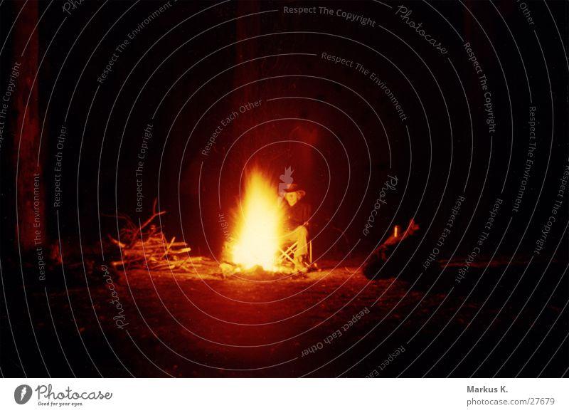 Man Calm Dark Fear Blaze Storage Fireplace Peaceful Tent camp