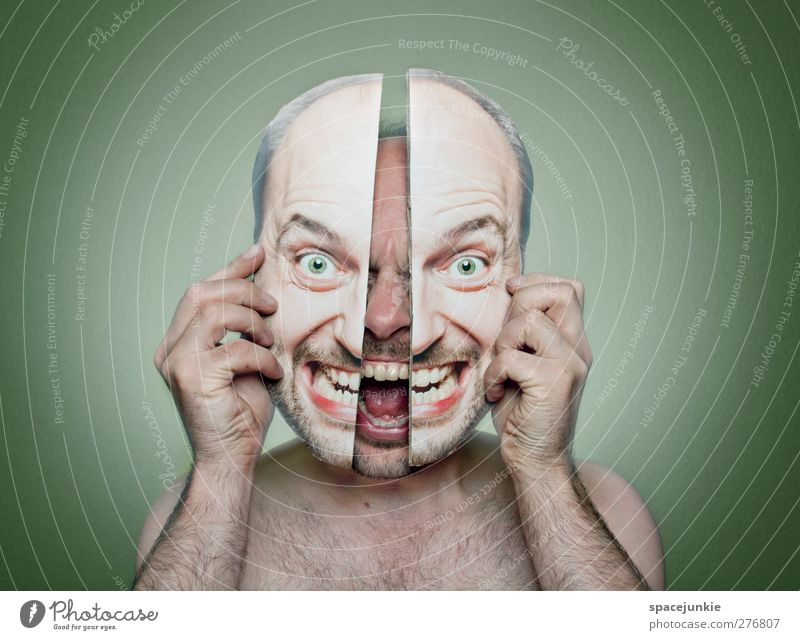 Human being Man Youth (Young adults) Green Adults Face Dark Naked Head Young man Exceptional Masculine Crazy Observe Threat Humor
