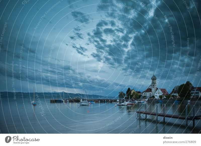 Watercastle Vacation & Travel Trip Environment Nature Landscape Sky Clouds Night sky Lake Lake Constance Wasserburg Village Fishing village Small Town Port City