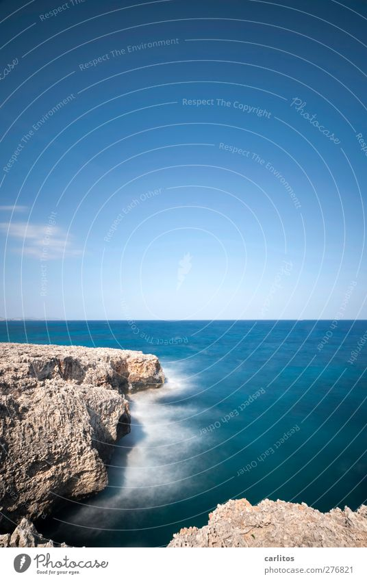 A last look at the sea ...... Environment Nature Elements Air Water Sky Summer Beautiful weather Rock Coast Ocean Mediterranean sea Esthetic Blue White crest