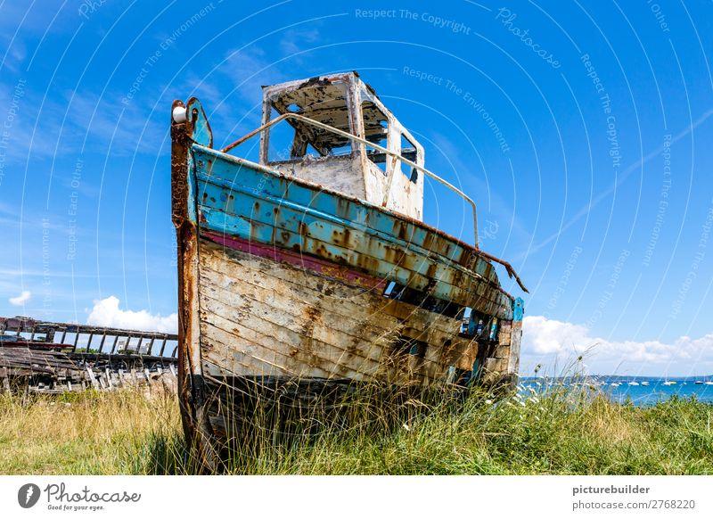 Boat on land Fishing boat Coast Vacation & Travel Summer Decline Ocean Technology Deserted Navigation Motorboat wood Metal Old Wait Broken Maritime Trashy Blue