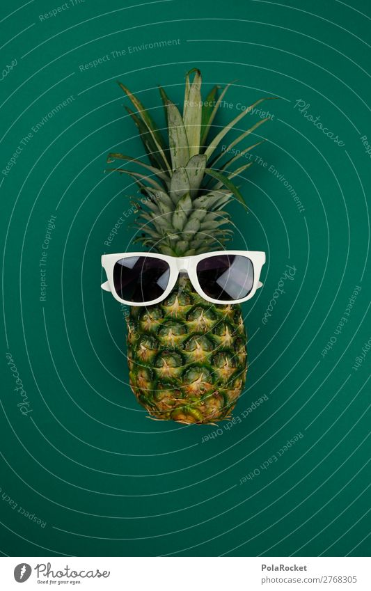 #A# STAY CALM Art Work of art Esthetic Green Pineapple Pineaple platation Ananas leaves Sunglasses Cool (slang) Youth culture Crazy Plantation Comic Joy Funster