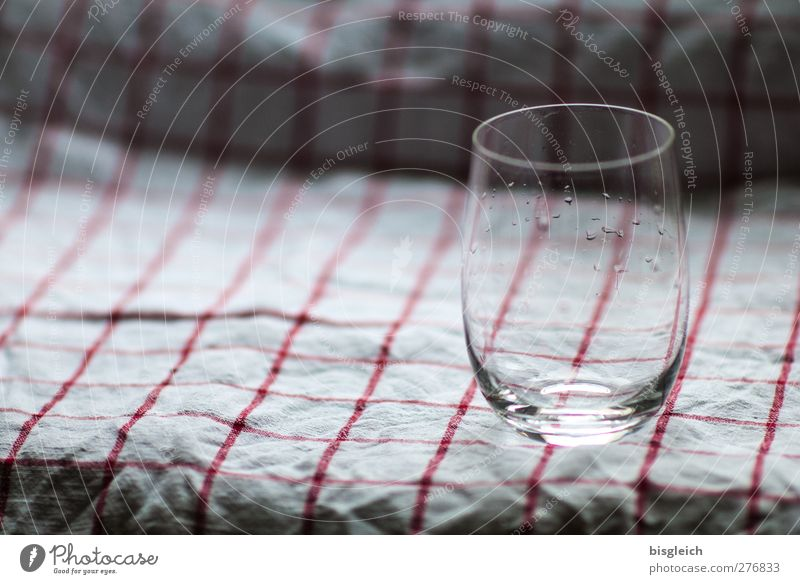 water glass Glass Dish towel Kitchen Drop Gray Red White Colour photo Interior shot Deserted Copy Space left Day Shallow depth of field