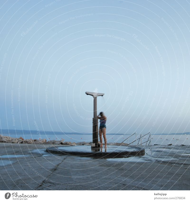 Human being Woman Blue Summer Adults Far-off places Coast Weather Wet Action Beautiful weather Individual Cloudless sky Shower (Installation) Blue sky Take a shower