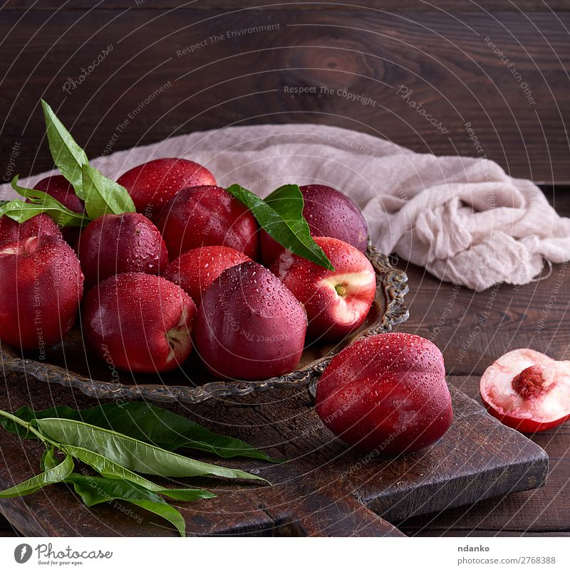 red ripe peaches nectarine in an iron plate Nature Summer Green Red Leaf Eating Wood Natural Group Brown Fruit Nutrition Fresh Table Dessert Harvest