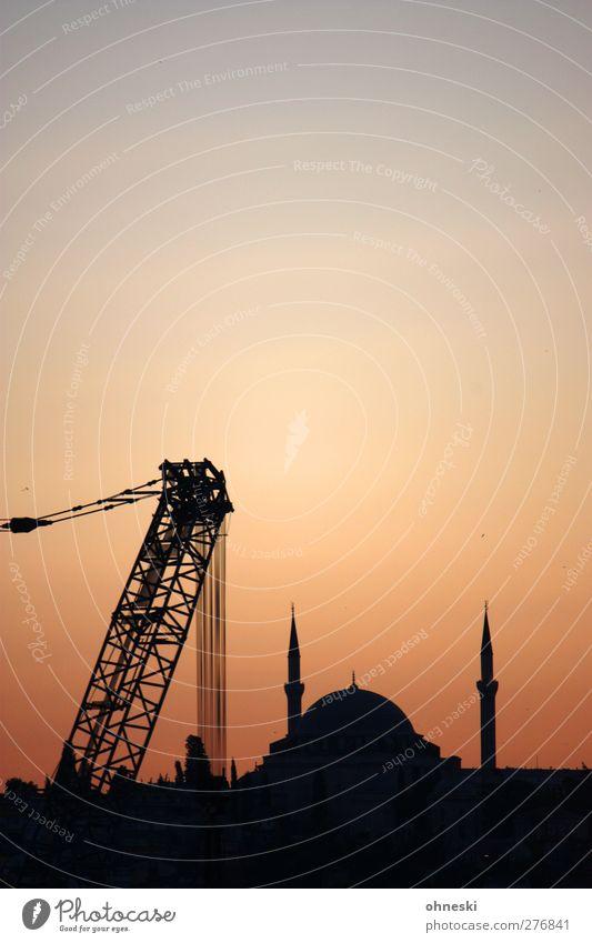 construction site Istanbul Turkey Town Manmade structures Building Mosque Crane Belief Religion and faith Islam-Hodja minaret Minaret Colour photo Exterior shot