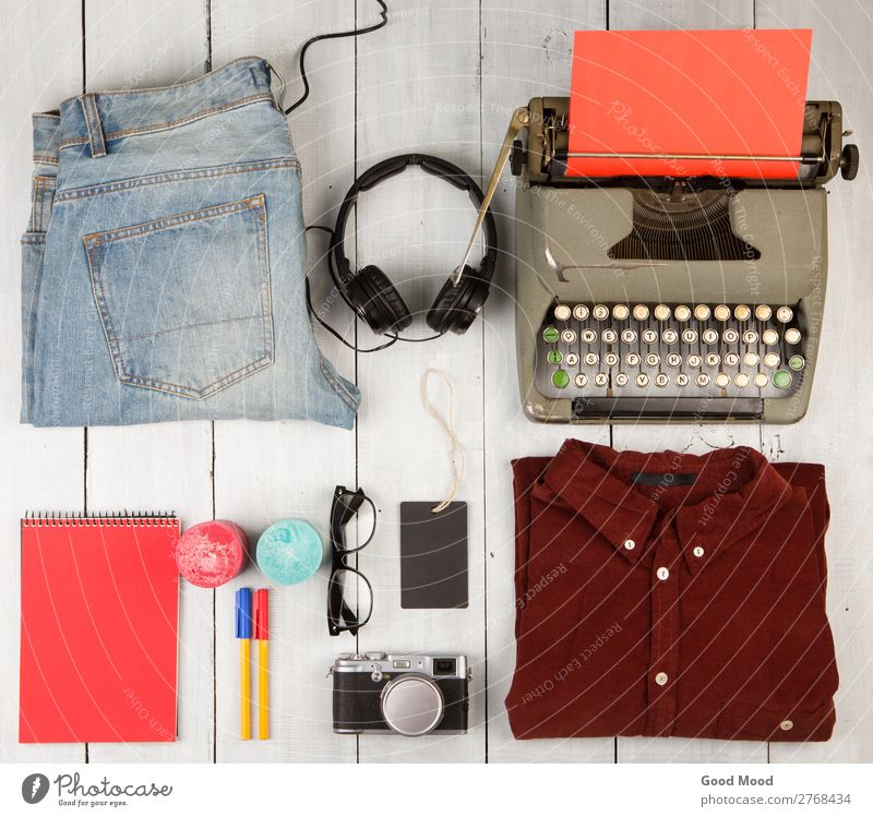 typewriter, notepad, clothes, headphones, camera and glasses Vacation & Travel Old White Red Wood Trip Retro Vantage point Table Clothing Shopping Things Candle
