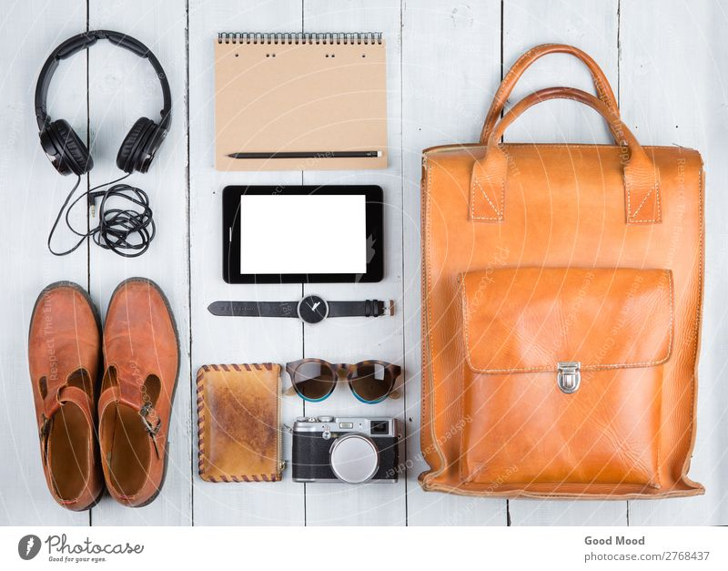 tablet pc, clothes, headphones, camera, shoes, bag Vacation & Travel Old White Lifestyle Wood Style Tourism Trip Retro Vantage point Table Footwear Adventure