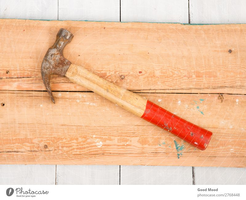 Old hammer on wooden background Design Work and employment Industry Tool Hammer Wood Metal Steel Rust Build Dirty Retro Red Ancient Bench board border Carpenter