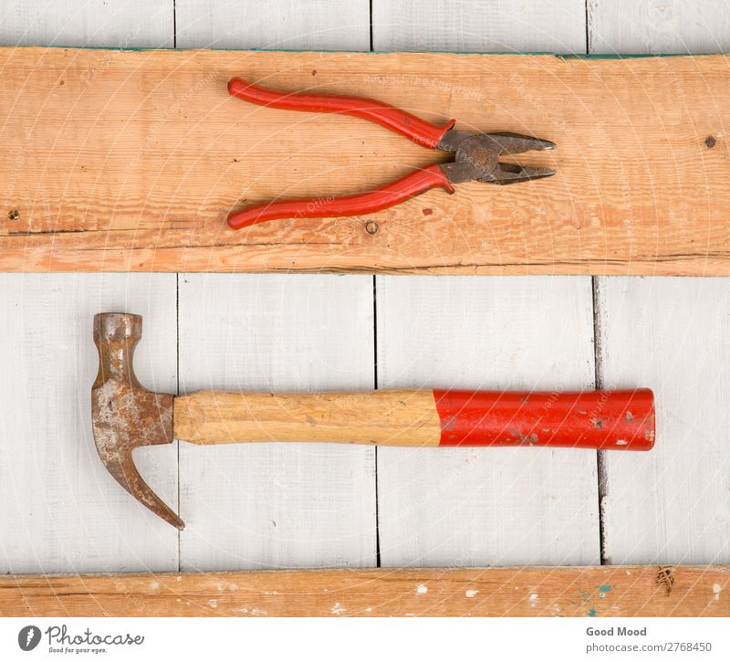 Set of old tools - hammer and pliers Work and employment Industry Tool Hammer Wood Metal Steel Rust Old Build Dirty Retro Red White Ancient background Bench