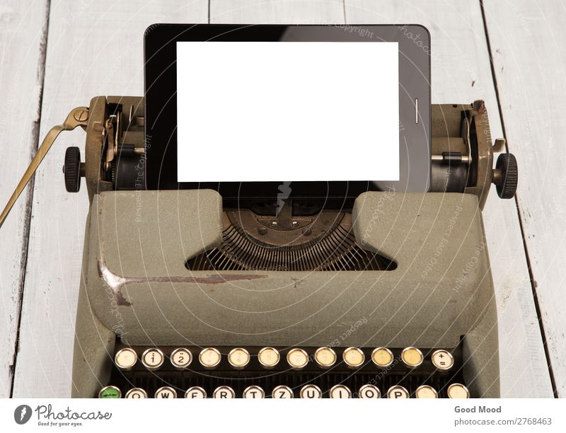 technology progress - old typewriter and new tablet pc Old Business Work and employment Office Retro Modern Vantage point Technology Computer Future Book