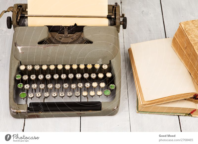 Retro typewriter and old vintage books Old White Style Art Work and employment Office Design Vantage point Table Book Paper Information Write Desk Rust