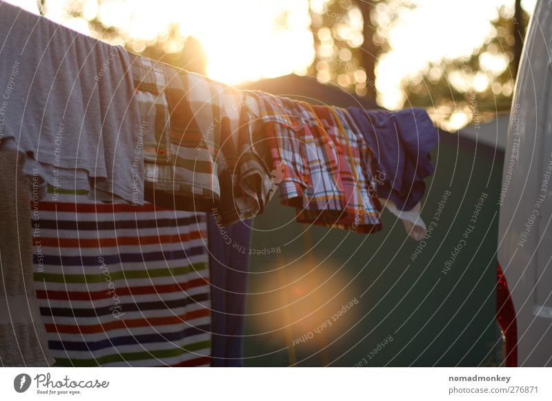 Laundry on a summer evening Vacation & Travel Summer Summer vacation Multicoloured Yellow Washing Camping Colour photo Exterior shot Deserted Copy Space bottom