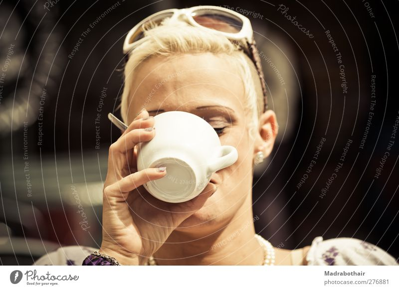 young woman drinking a coffee To have a coffee Beverage Drinking Coffee Cup Feminine Young woman Youth (Young adults) Woman Adults Head Hand 1 Human being