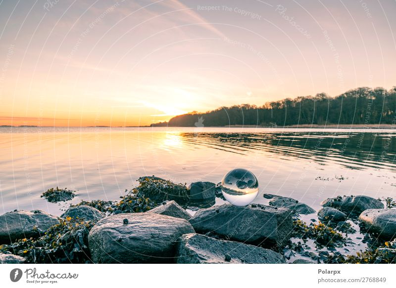 Glass orb on o rock by the lake Design Beautiful Wellness Meditation Vacation & Travel Sun Beach Ocean Nature Landscape Sky Clouds Horizon Rock Coast Lake