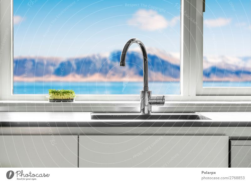Kitchen sink by a window with a view Nature Blue Green White Ocean House (Residential Structure) Mountain Architecture Lifestyle Natural Style Design