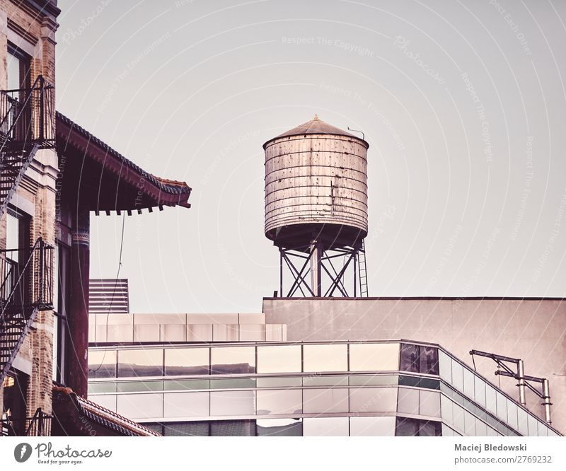 Rooftop water tower in downtown New York, USA. Building Architecture Old Retro Uniqueness Time City NYC Manhattan rooftop Symbols and metaphors Illustration