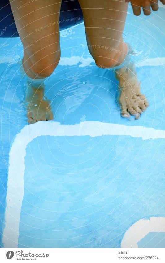 heatless Leisure and hobbies Summer Summer vacation Legs Feet 1 Human being Water Beautiful weather Warmth Stairs Line Wet Under Blue Joy Happy