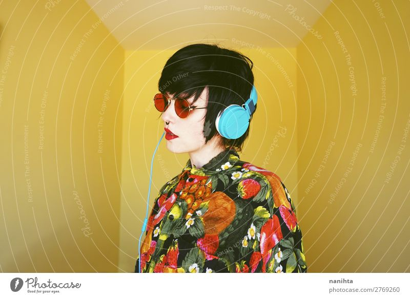 Cool androgynous dj woman in vibrant colors Woman Human being Youth (Young adults) Summer Colour Beautiful 18 - 30 years Lifestyle Adults Yellow Feminine Style
