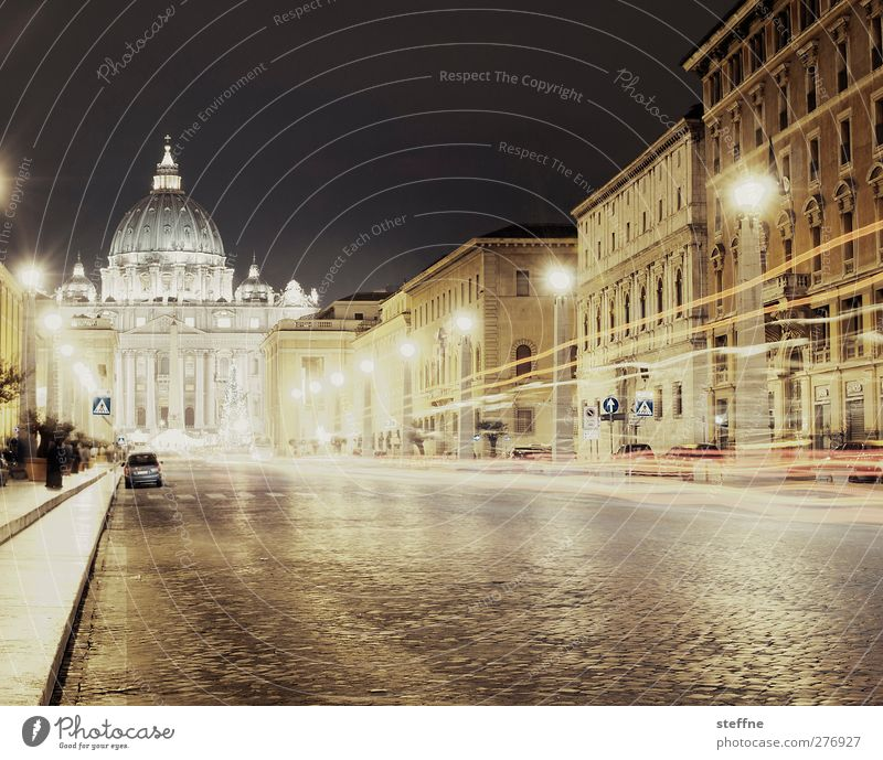 Street Religion and faith Church Italy Downtown Landmark Tourist Attraction Dome Capital city Rome Graceful Night shot Vatican St. Peter's Cathedral