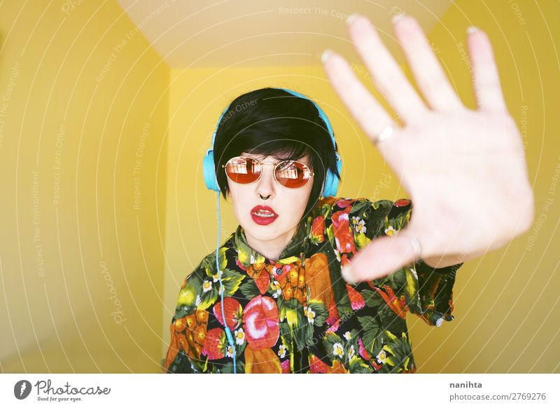 Cool androgynous dj woman in vibrant colors Woman Human being Youth (Young adults) Summer Colour 18 - 30 years Adults Yellow Feminine Fashion