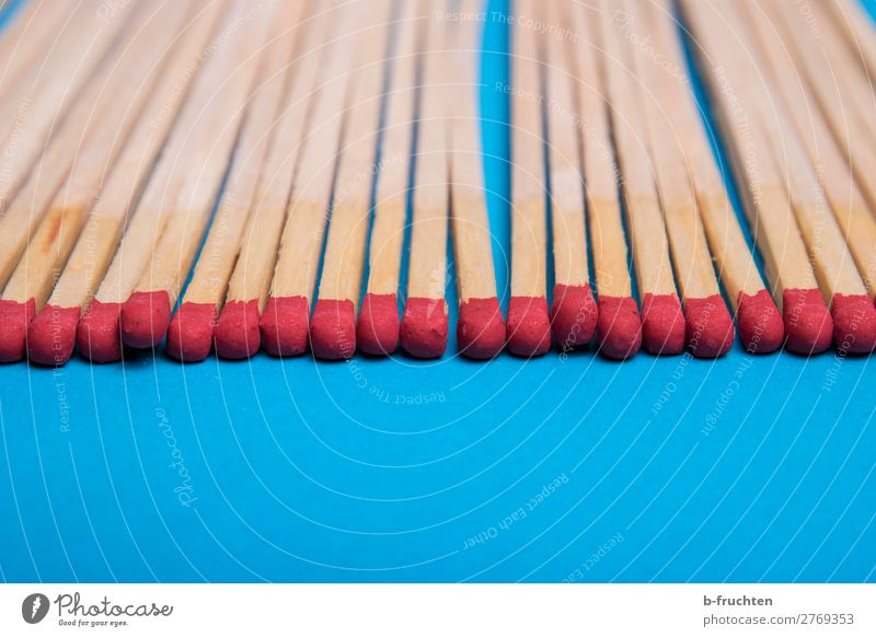 matches Line Select Touch Lie Blue Red Match Ignite Row Classification Arrangement Head Rousing Wood Colour photo Interior shot Studio shot Detail Deserted