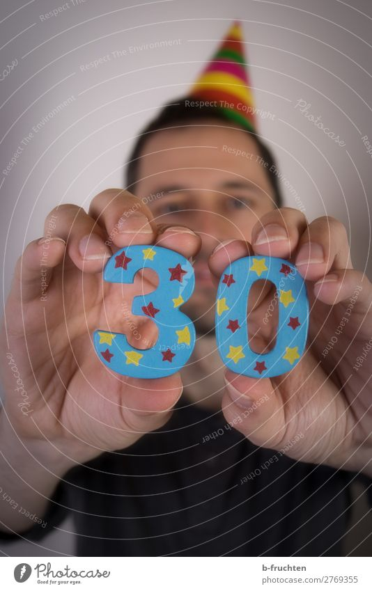30th birthday Party Event Feasts & Celebrations Birthday Man Adults Hand Fingers 1 Human being 30 - 45 years Sign Digits and numbers Select Touch To hold on