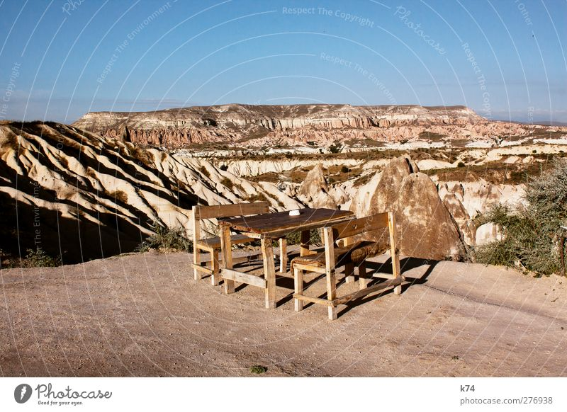 panorama bar Nature Landscape Earth Sand Sky Beautiful weather Mountain Stone Sit Exceptional Large Blue Brown Horizon Table Chair Cappadocia Turkey Erosion