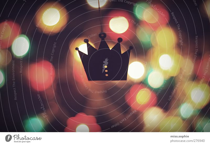 royally. Handicraft Glittering Illuminate Dream Warmth Red Power Goodness Colour Luxury Crown King Royal Multicoloured Fairy lights Blur Copy Space left
