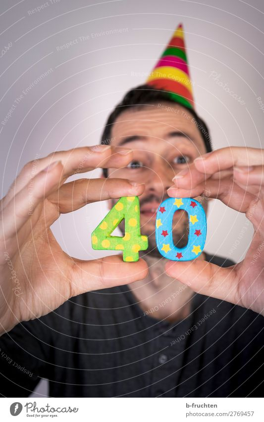 40th birthday Party Event Feasts & Celebrations Carnival Birthday Man Adults Face Hand Fingers 1 Human being 30 - 45 years Hat Wood Digits and numbers Select