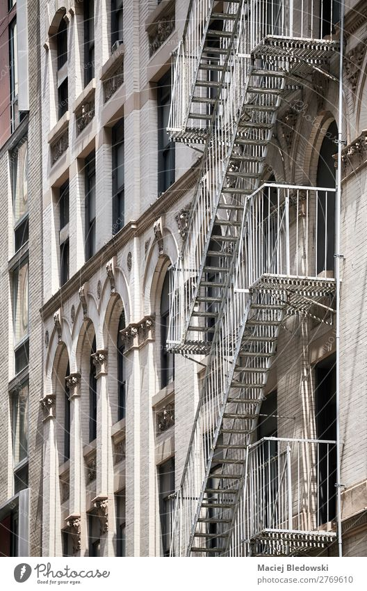 Old building fire escape in New York. Luxury Elegant Style Design Living or residing Flat (apartment) House (Residential Structure) Building Architecture